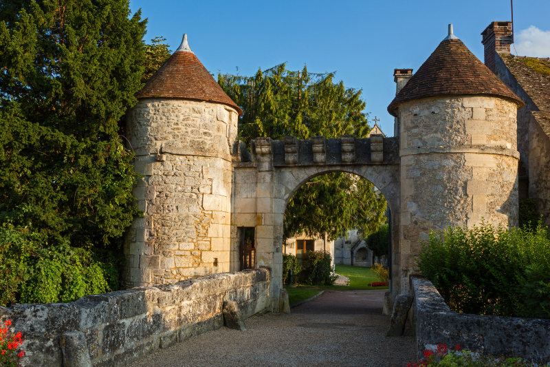 Main gate of the village Saint Jean au Bois, in the Forest of Compiegne, France