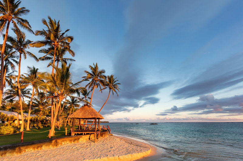 Beach of Viti Levu, Fiji at sunset