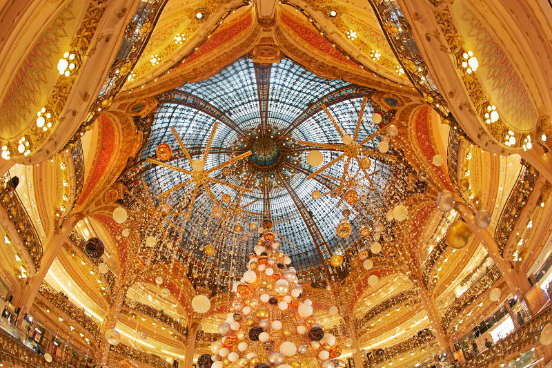 The Galeries Lafayette in Paris decorated for Christmas.