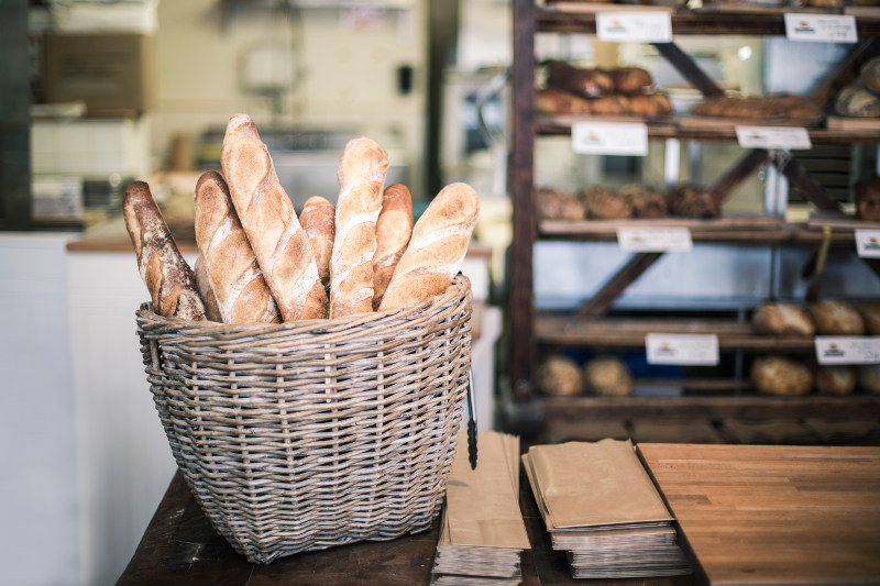 Baskets of baguettes