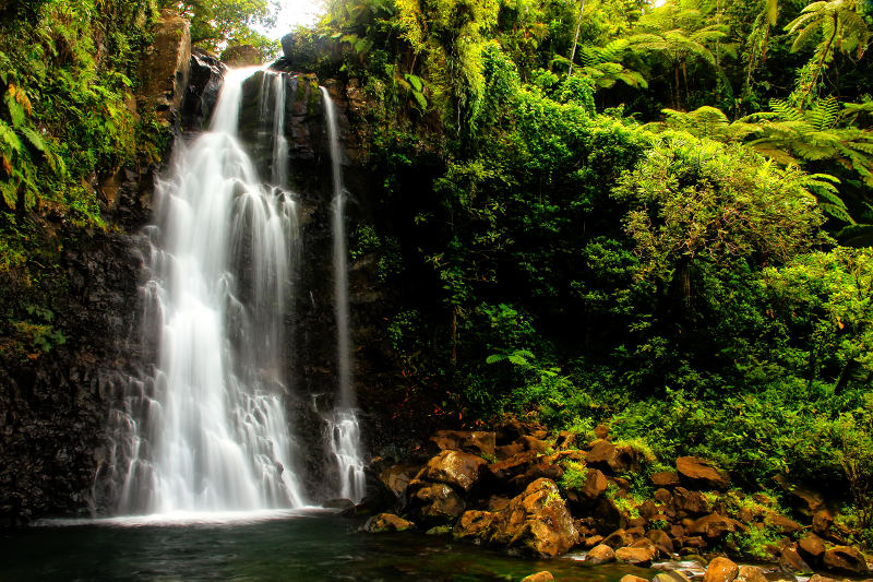 Tavoro Waterfalls in Bouma National Heritage Park, Taveuni Island.