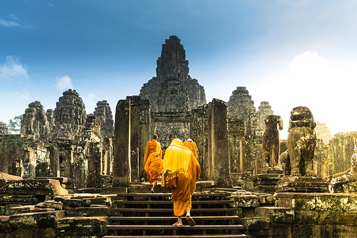 monks in temple south east asia