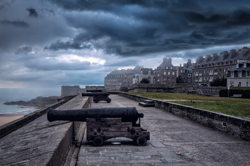 The cannons and city ramparts of Saint-Malo, France.
