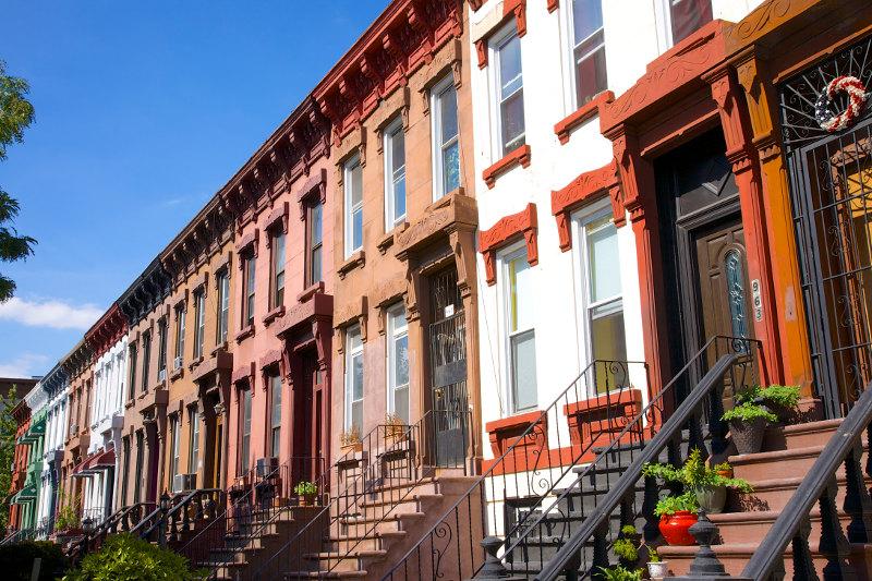 Row of houses in Bushwick, Brooklyn, New York