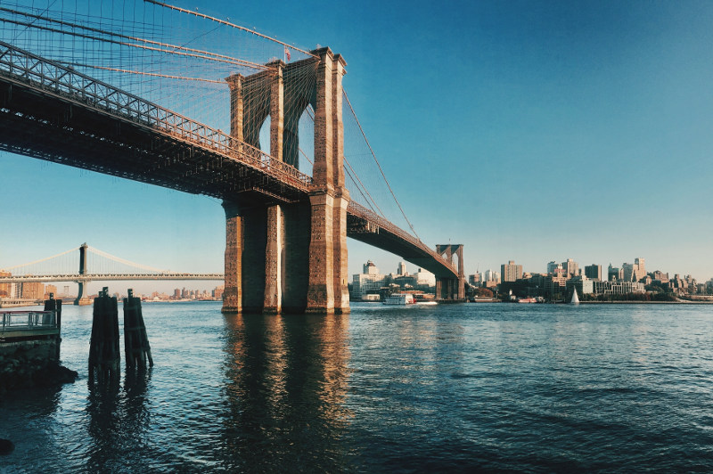 View of the Brooklyn Bridge over the East River.