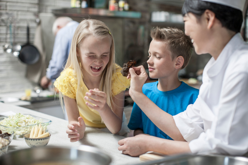 Kids at cooking class