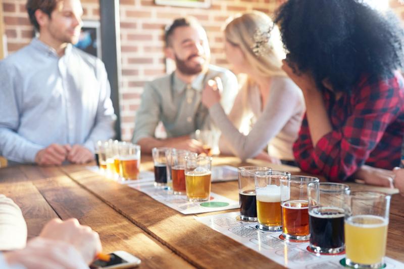 people at a craft beer tasting