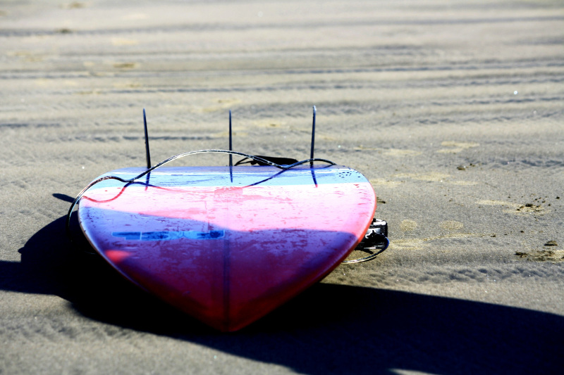 surfboard on sand