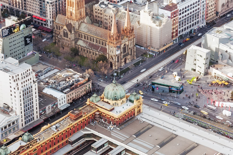 aerial view of flinder st station melbourne