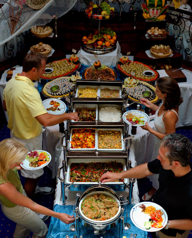 cruise ship buffet from above