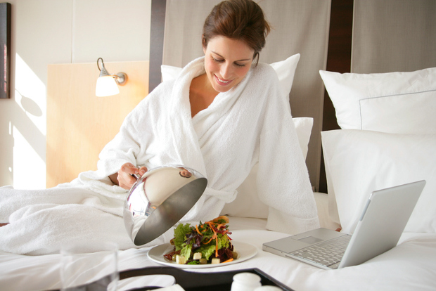 Room service at hotel