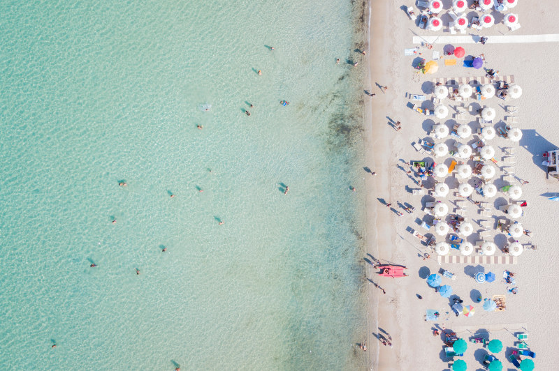 aerial view of beach in sardinia, italy, europe