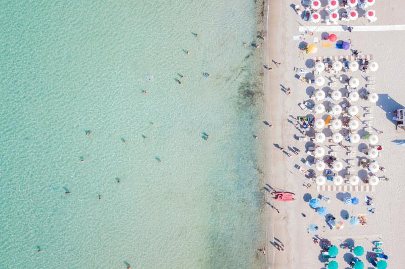 aerial view of beach in sardinia, italy, europe