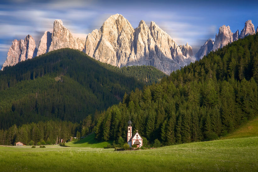 rocky mountains and forest green hills italian landscape