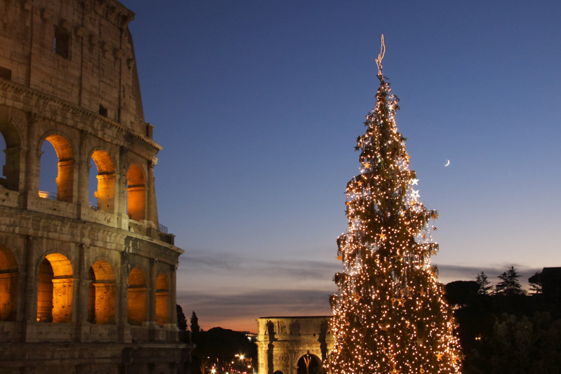 Christmastime at the Colosseum in Rome, Italy.