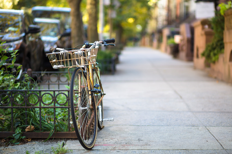 pushbike leaning against rail in Brooklyn street