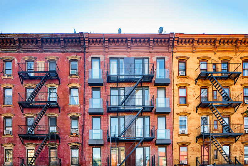 Row of colourful apartments in Williamsburg, Brooklyn, New York