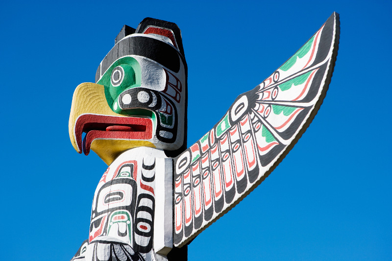 Thunderbird totems in Stanley Park, Vancouver. Image: Getty