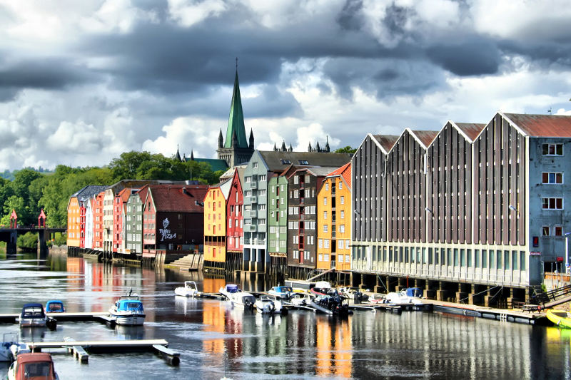 colourful houses on waterfront in norway