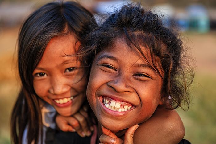 happy kids in asia