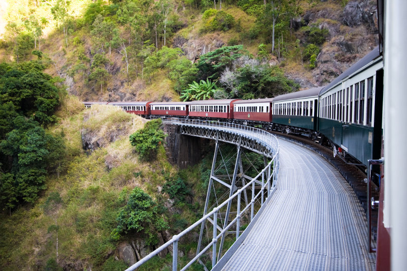 View of the Kuranda Scenic Railway as it travels through rainforest