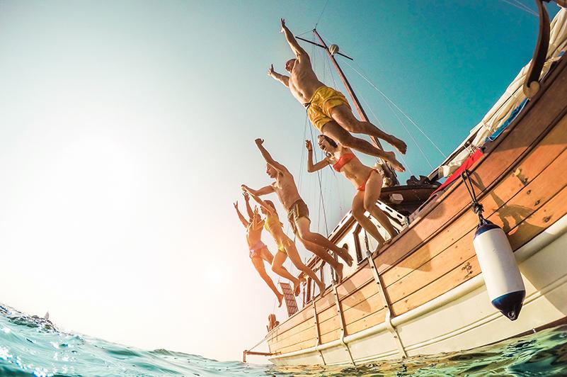 Group sailing in Croatia