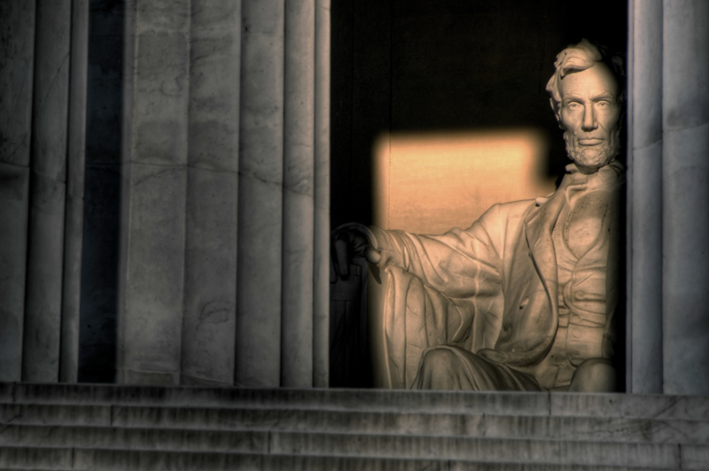 The Lincoln Memorial on the National Mall at sunrise.