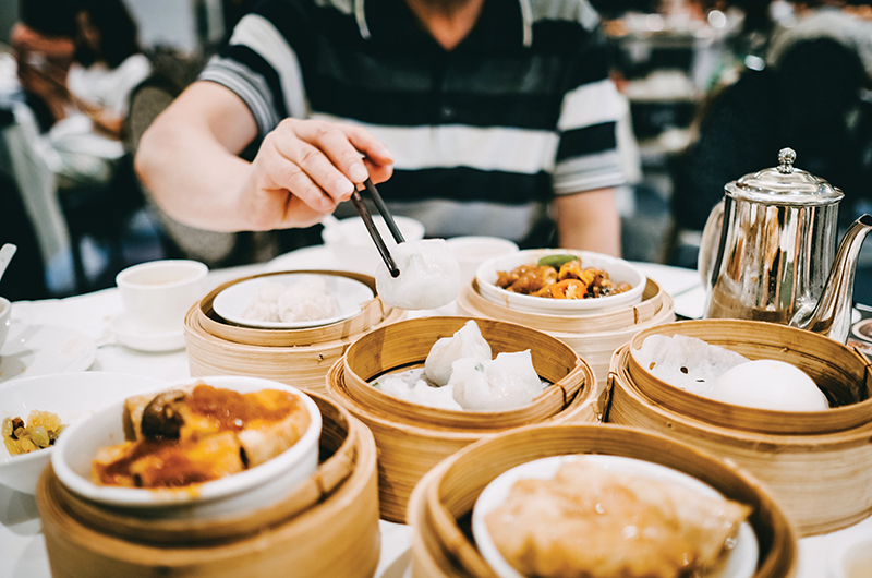 Table with dim sum dishes