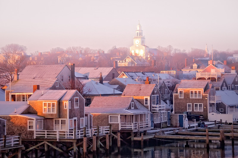 View of Nantucket, USA, on a foggy morning