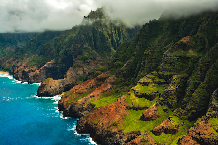 aerial view of Kauai's Na Pali Coastline - 14 romantic experiences for Valentines day