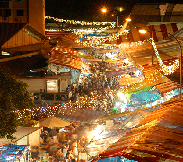 Geylang street night market in Singapore