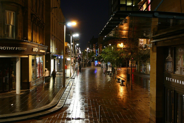 West end shopping street at night