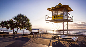 Gold Coast life-guard tower beach sunrise