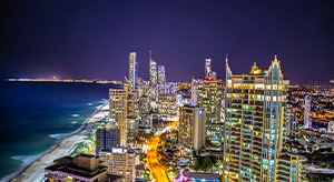 Surfers Paradise - Gold Coast beach city views night