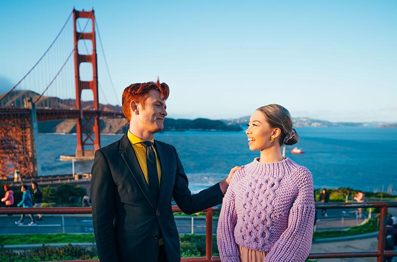 Golden Gate Bridge at sunset, San Francisco.