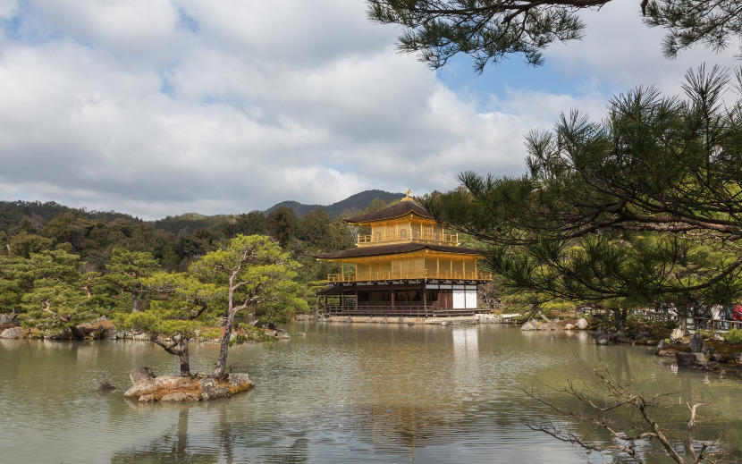 golden pavilion and lake kyoto
