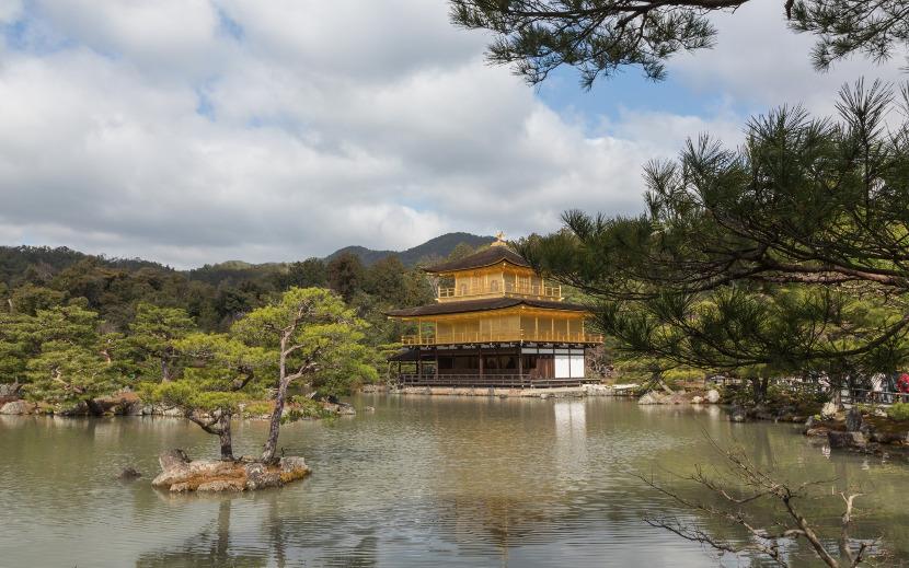 golden pavilion and lake kyoto