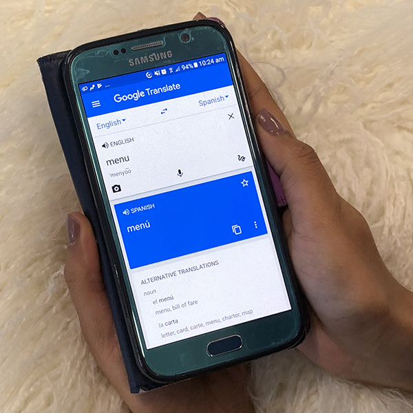 Google Translate app on a smartphone