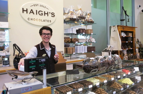 Counter at Haigh's chocolate factory shop