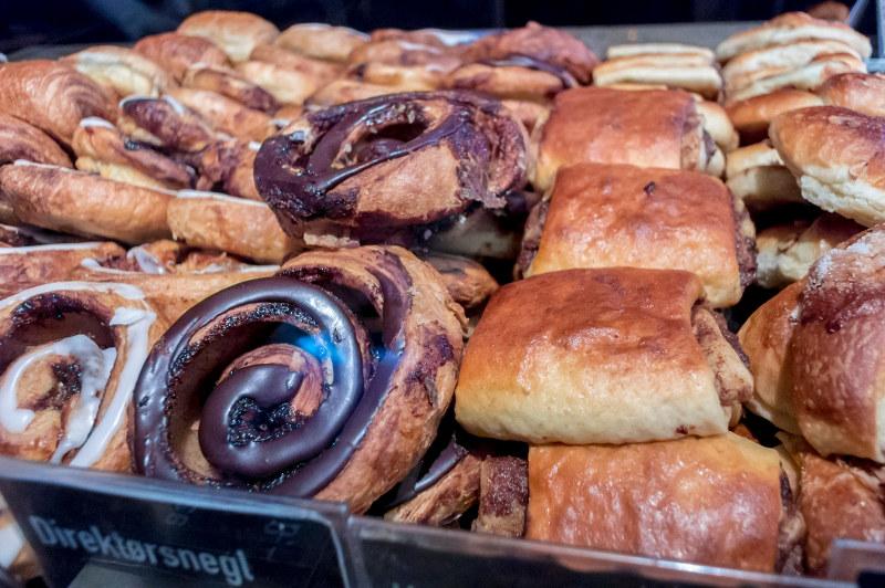 Pastries fill a bakery window in Denmark.