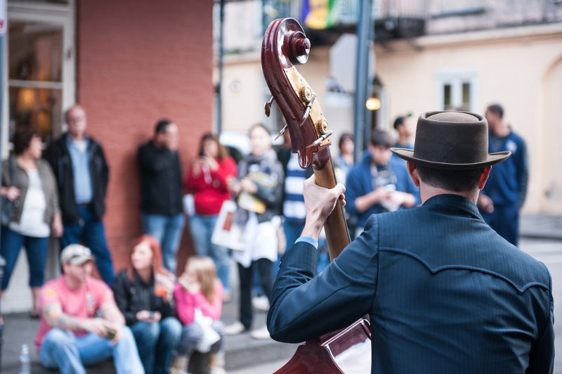 A busker entertains the crowds in downtown New Orleans.