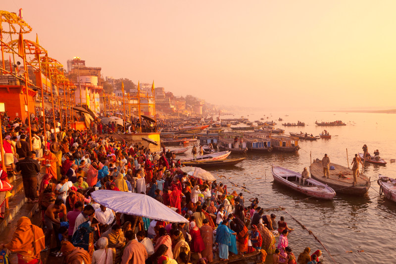 Hindus gather on the Ganges River in Varanasi, India.