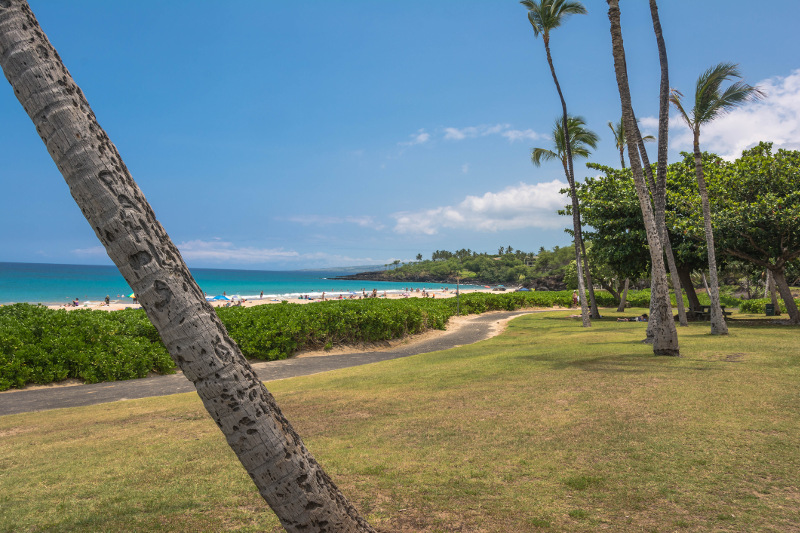 A view of the parks overlooking Hapuna Beach
