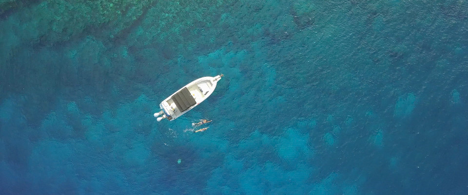 aerial shot of boat and snorkellers hawaii