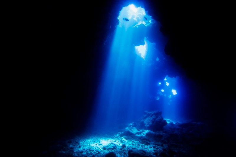 The underwater cavern at Lanai Cathedral dive site in Hawaii