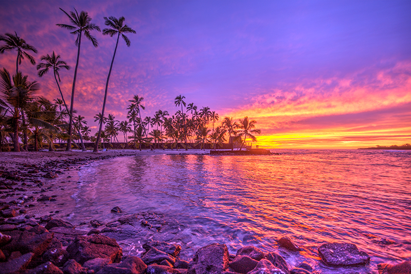 Vibrant sunsets on Hawaii Island