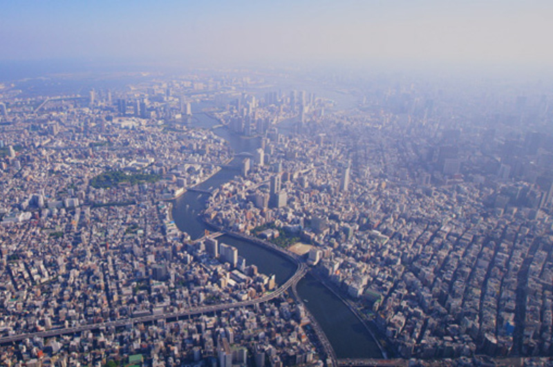48 Hours In Japan aerial of Tokyo from helicopter
