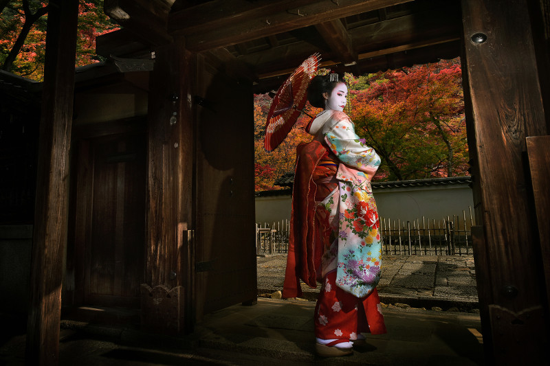 A geisha in Kyoto.