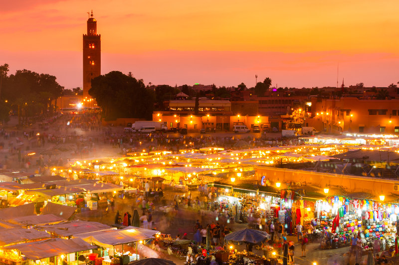 The Jemaa El Fna in the Medina of Marrakech.