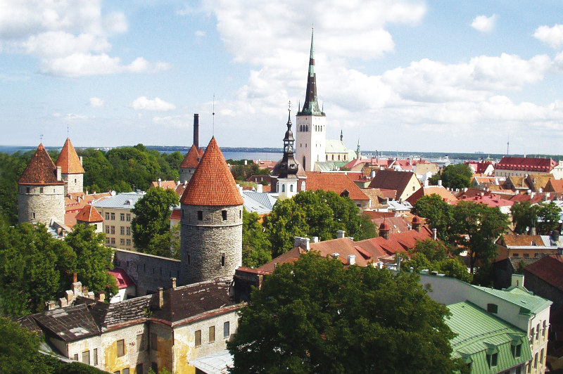 The church spires of Tallinn, Estonia.